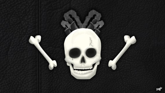 Wallpaper Skull over leather